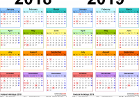 Year Calendar 2019 With 2018 Free Printable Two PDF Calendars
