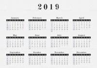 Year Calendar 2019 With Horizontal Design Stock Vector Art More Images