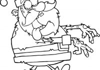 Zombie Santa Coloring Page With Walking Hands In Front Free